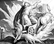 Elie  enlevé au ciel par un char de feu