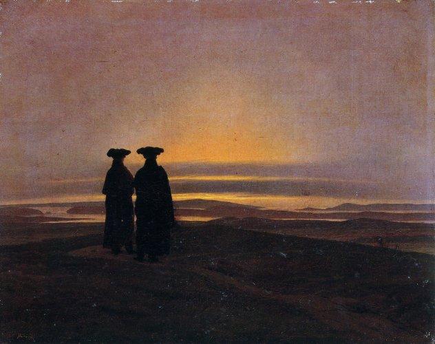 Abendlandschaft mit zwei Männern - Caspar David Friedrich