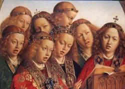 Jan van Eyck (1390-1441) De zingende engelen, détail du polyptique de l'Eglise Saint-Bavon de Gand (Belgique)