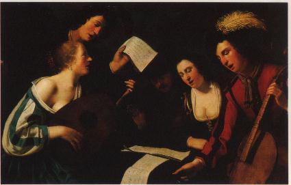Un concert - Tableau anonyme du XVII° siècle Musée Tessé, Le Mans