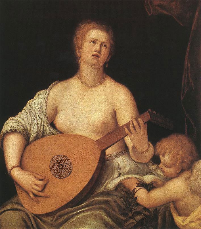 Parrasio MICHELI (1516 - 1578), Ecole vénitienne Vénus jouant du luth pour Cupidon (v. 1550)Musée des Beaux-Arts, Budapest