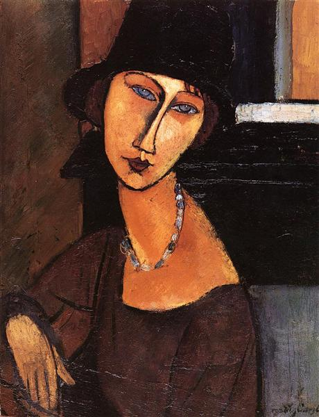 Modigliani - JeanneH ebuterne with hat and necklace-1917