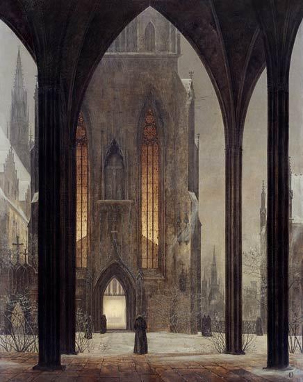 Ernst Oehme, Cathédrale en hiver - Staatsgalerie, Dresde